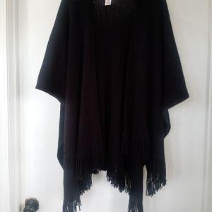 Cape Poncho Wrap-around Black Sweater w Fringe